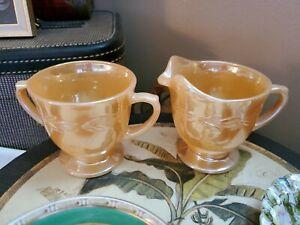 Vintage Fire King Peach Luster Laurel Leaf Sugar Bowl and Creamer