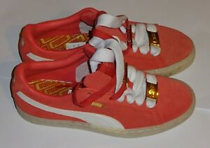 New Womens Puma Red Pink Suede Classic