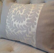 "12x16"" panelled cushion cover Laura Ashley Berkeley Scroll Pewter & Bacall Mocha"