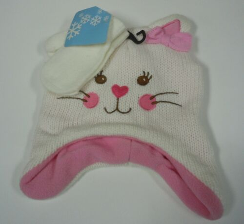 Girl/'s Toddler Kitty Cat Face Beanie Cap Hat Mittens Combo NEW Knit Winter Set