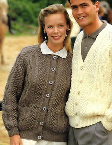 ea35a145adf3d2 VINTAGE KNITTING PATTERN HIS   HER ROUND   V-NECK ARAN CARDIGAN 32 ...