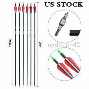6pcs 30/'/' Aluminum Hunting Arrow Replaceable Tip Arrows For Recurve Bow Spine500
