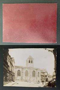 France-commerces-place-de-l-039-eglise-lieu-a-identifier-Vintage-albumen-pr