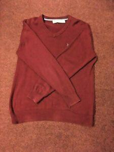 CREW-CLOTHING-MENS-V-NECK-RED-JUMPER-MEDIUM