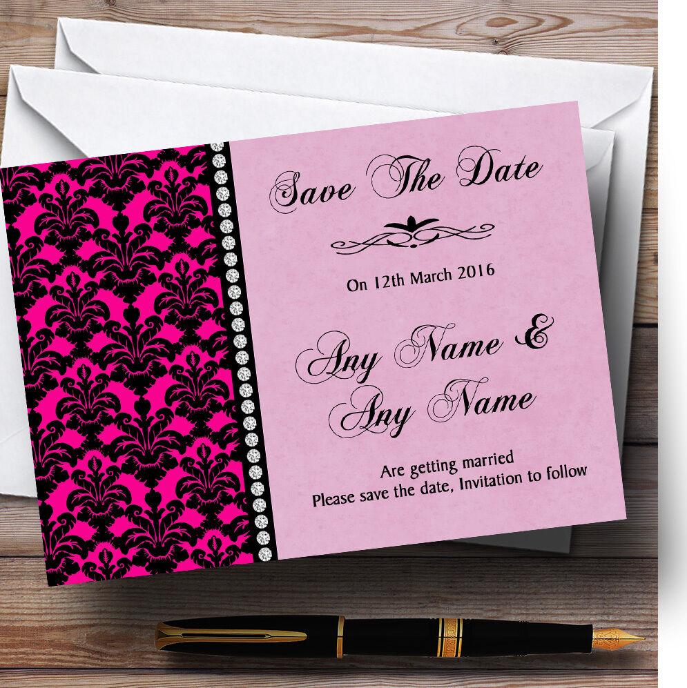 Rose save vif noir Damask & diamond Personnalisé Mariage save Rose the date cards c6f57a