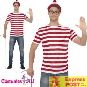 Mens-Where-039-s-Wally-Wheres-Waldo-Costume-Kit-Top-Hat-Glasses-Book-Week-T-Shirt