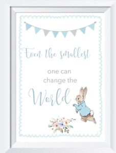 Details about Peter Rabbit quote baby girl boy pink blue print picture  nursery walldecor gift