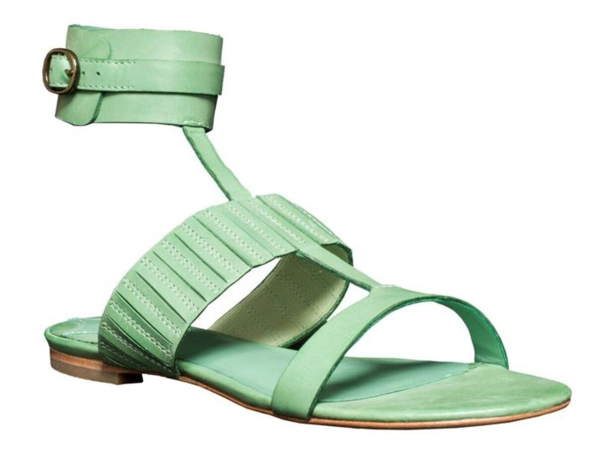 Max Studio-Leon Max Buckle Sandals Leather Green Womens Size 8 MSRP  258
