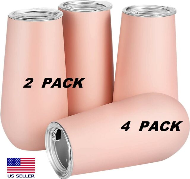 Skylety 2 & 4-Pack Stemless Double-Insulated Wine Tumbler Champagne Flutes, 6 OZ