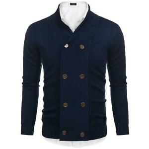 Men-Shawl-Lapel-Long-Sleeve-Slim-Double-breasted-Knit-Cardigan-Sweater-EH7E