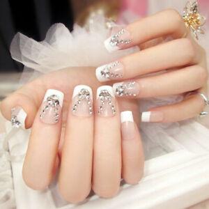24pcs-Glitter-Fake-Nails-Art-Tips-Acrylic-Full-Cover-Nail-False-Manicure-Decor