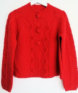NWT-Mini-Boden-Girls-red-big-button-knitted-sweater-size-13-14Y