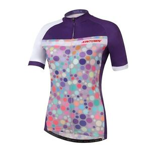 Maillot-de-manga-corta-Damas-2018-Camiseta-Carreras-bicicletas-Circulo-Dots