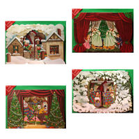 36 3D Die-cut Pull-out Christmas Cards of Festive Scenes