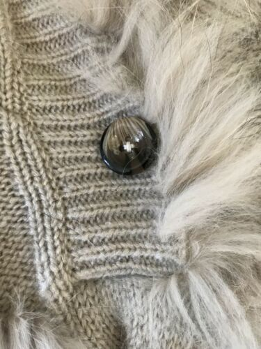 con naturale invernale cappuccio pelliccia in Giacca poncho con 4AqZ8x11wH