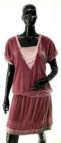 Taille S//M Robe Star Chic Easy couture Femme Velur rose antique