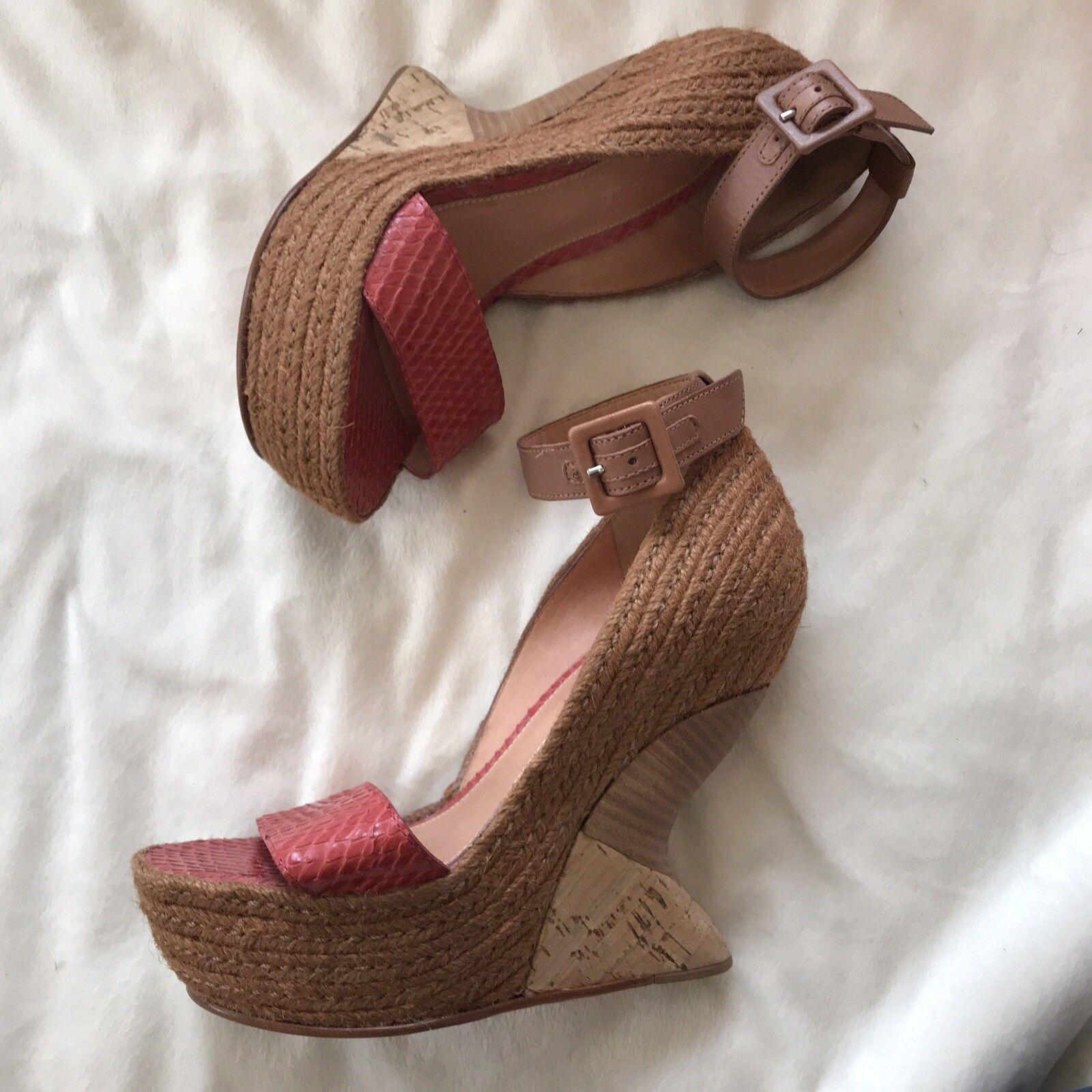 Anthropologie Leifsdottir Red Snakeskin Leather Curved Wedges Sz 36 Womens Heels