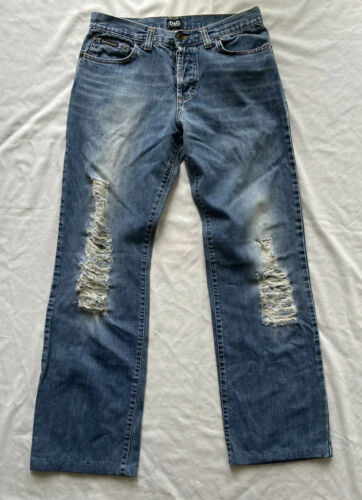 Dolce And Gabbana Mens Distressed Denim Jeans-27 X