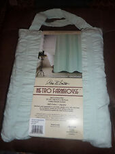 Item 2 PARK B SMITH METRO FARMHOUSE SPEARMINT GREEN SEERSUCKER BAND SHOWER CURTAIN NEW