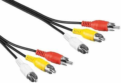 AV Cinch Kabel 3 adrig 3 m 3x Cinch Stecker gelb rot weiß stereo Bild Ton 3,0 m