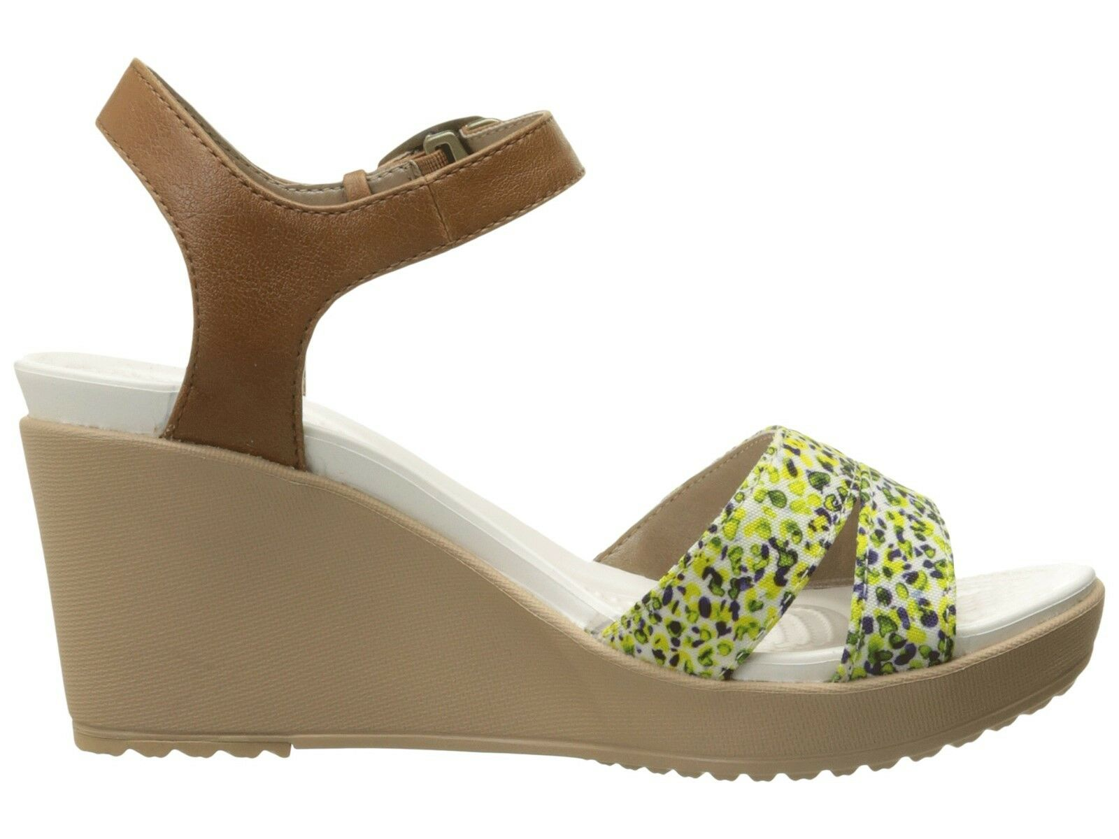 Crocs Leigh II Ankle Strap Graphic Wedge Hazelnut/Gold