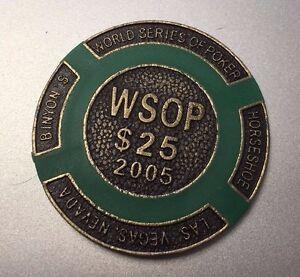 RARE-GREEN-25-Wsop-2005-Brass-Poker-Chips-Card-Guard-ball-marker-WSOP