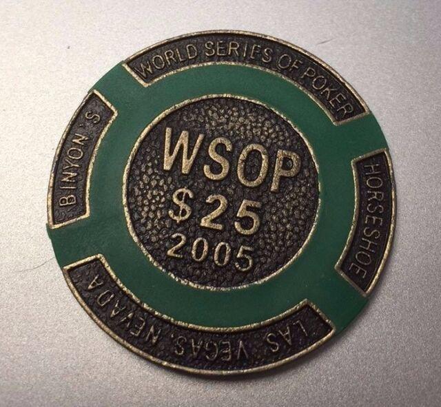RARE GREEN 25$ Wsop 2005 Brass Poker Chips/Card Guard ball marker WSOP