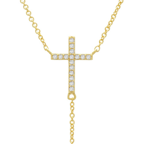 Cubic Zirconia Cross Lariat Chain Necklace In Gold Or Silver Tone