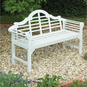 White 2 Seater Bench Outdoor Garden Wooden Benches ...