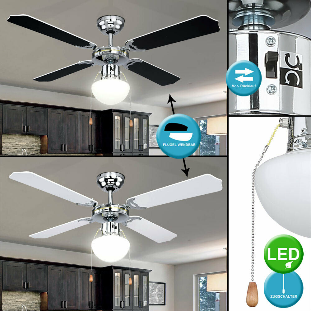 LED Techo Ventilador Enfriar Calientes Lámpara Dormitorio Interruptor Tirador