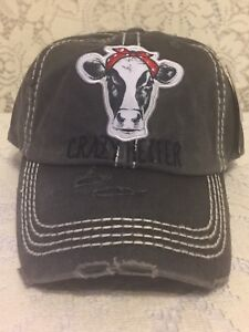 e221ce10421fc7 Image is loading Crazy-Heifer-Embroidered-Factory-Distressed-Baseball-Cap -Black-