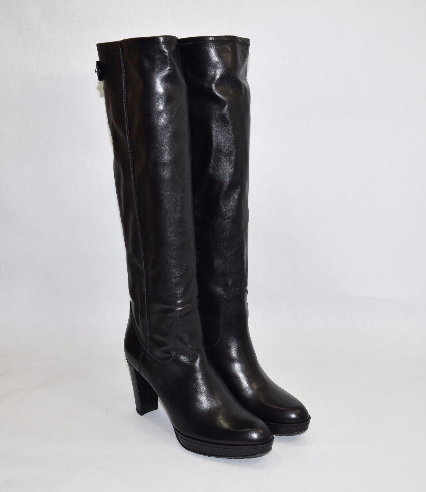 Stuart Weitzman 'Gentry' Almond Toe Platform Boot Black Leather Size 10 M 745