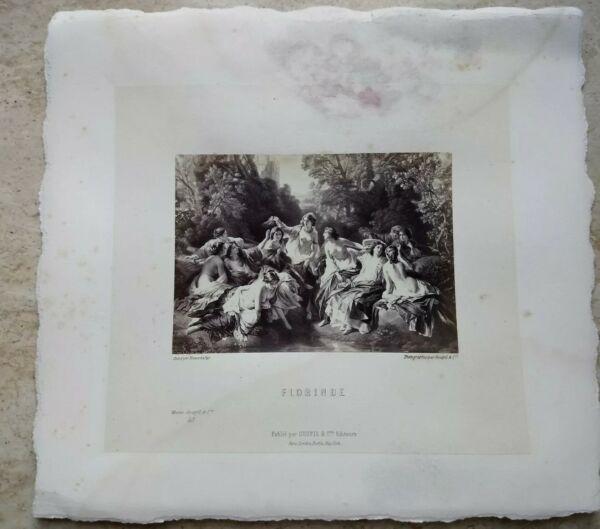 $ 800 Foto Litografia Stampa Goupil & Cie Florinde Quadro Donne Nude Baccanale In Molti Stili