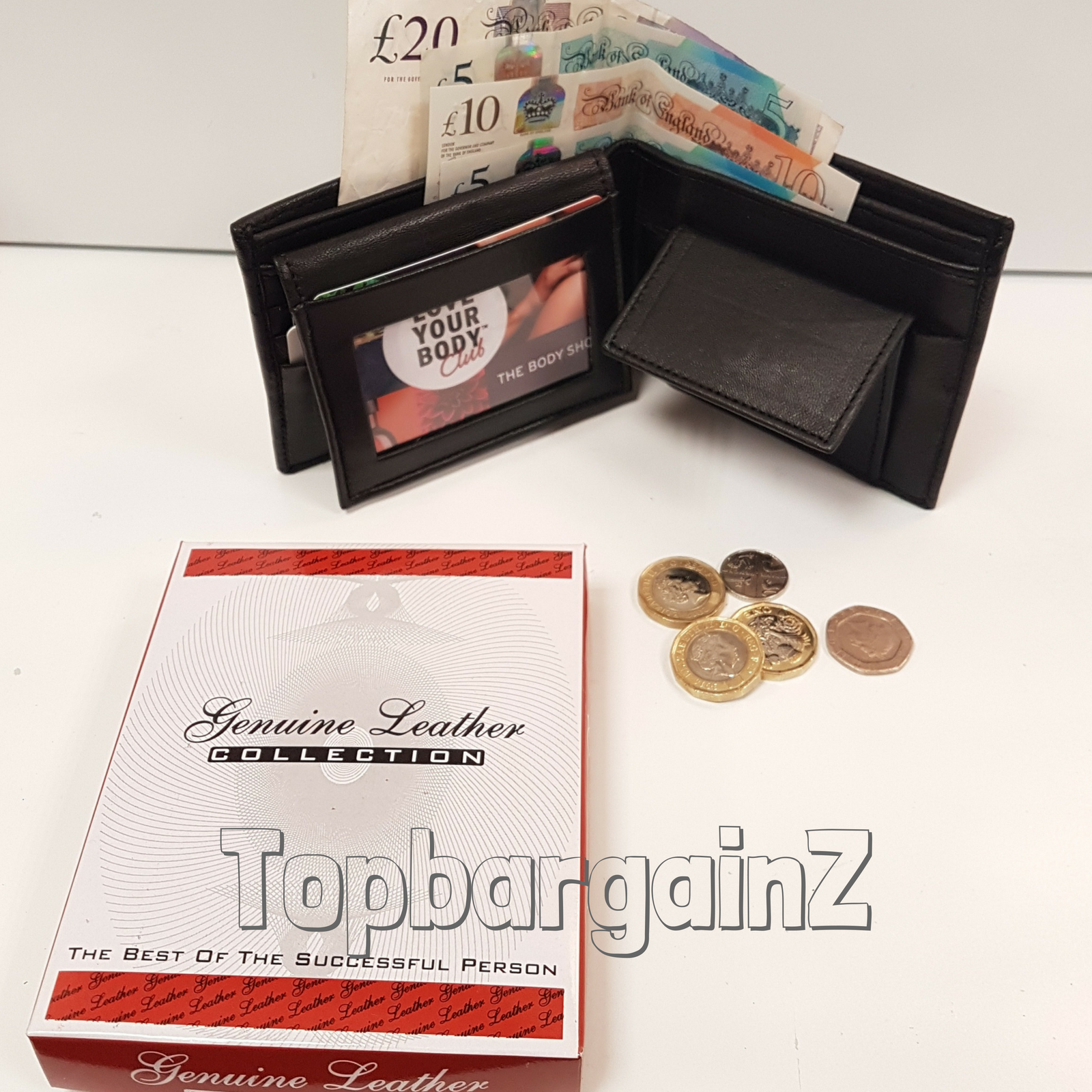 Genuine Black Leather Wallet Mens Compact Card Coin Holder with Gift Box