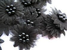10 X BLACK ORGANZA DAISY BEADED FLOWER EMBELLISHMENTS HEADBAND APPLIQUES