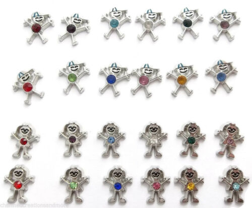Little Boy Or Girl Son Daughter CZ Birthstone Floating Charm For Your Lockets