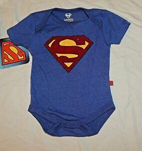 NEW Baby Superman Logo One Piece Sizes 0 thru 6 Months Costume Blue