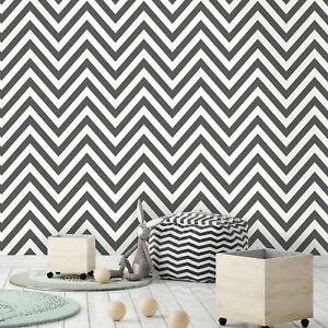 Image Is Loading Chevron Zig Zag Wallpaper Black White Holden Decor