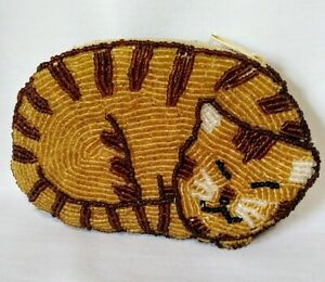 Vintage-Handcrafted-Sleeping-Resting-Golden-Amber-amp-Brown-Cat-Beaded-Coin-Purse