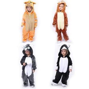 Kids Sleepwear Cartoon Animal Winter One Piece Pajamas Thermal Ultra Soft Pyjama