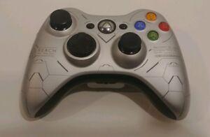 Xbox-360-Halo-Reach-Collector-Wireless-Controller-Silver-Black-TESTED