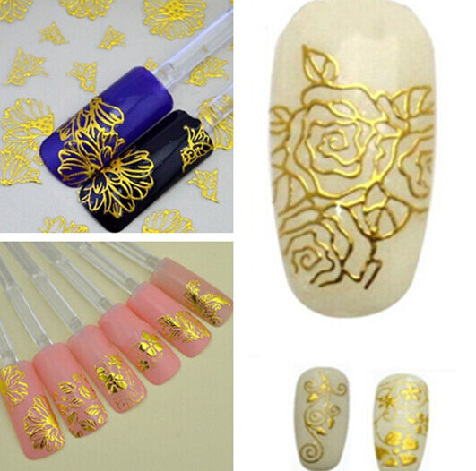 3D gold Decal Stickers Nail Art Tip DIY Decoration stamping Manicure 1 SHEET HS8