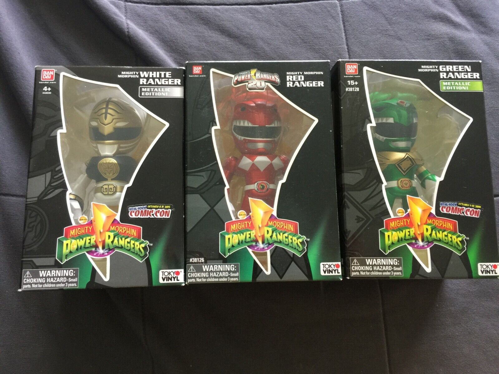 Brand new in box power rangers rot, Weiß, and Grün ranger SDCC exclusive