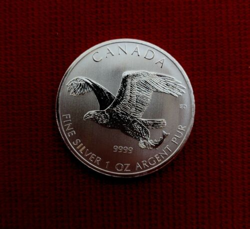 2014 $5 Royal Canadian Mint 1 Troy Oz .9999 Fine Bald Eagle Coin BU UNC RCM