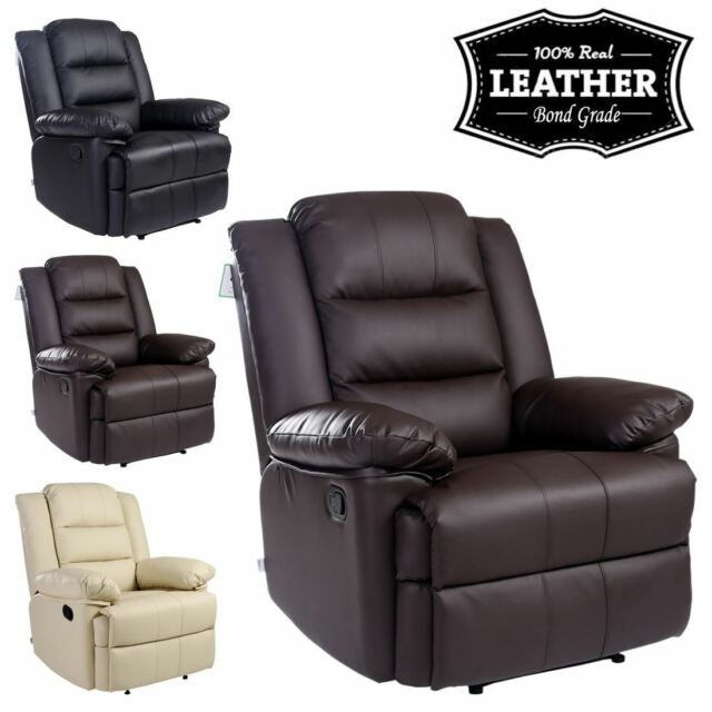 Loxley Brown Leather Recliner Armchair Sofa Home Lounge Chair Reclining  Gaming | EBay