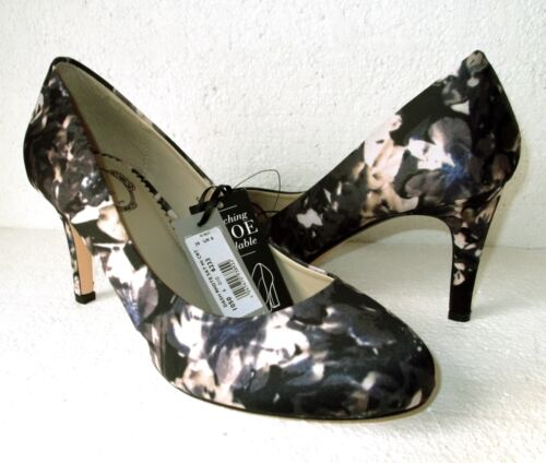 Black orchidea Court navy 6 Shoe Satin Print Debut Multi Floral Taglia New Uk tqwAn58UA