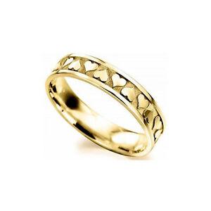 Fine Jewelry Fine Rings Dutiful 9ct Oro Amarillo 5mm Celta Corazón Plano Alianza