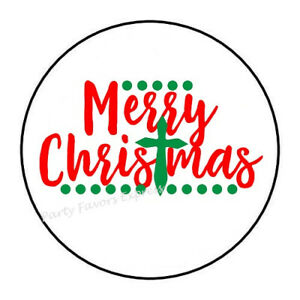 """30 MERRY CHRISTMAS ENVELOPE SEALS LABELS STICKERS PARTY FAVORS 1.5/"""" ROUND"""