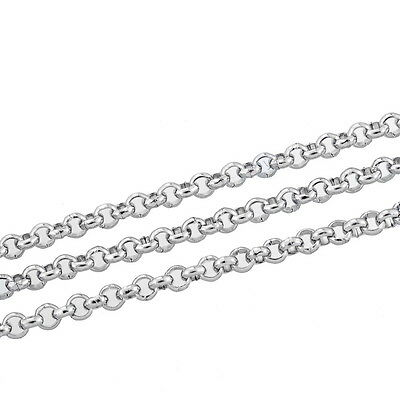 """10M Silver Tone Stainless Steel Link-Opened Chain For Necklace 2.5mm(1/8"""")"""