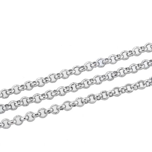 """10M Silver Tone Stainless Steel Link-Opened Chain For Necklace 2.5mm 1//8/"""""""